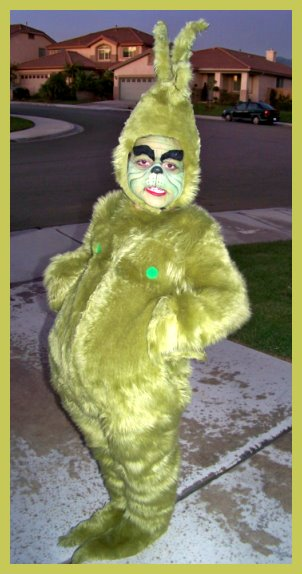 And He Looks To Me To Be A GRINCH! Very Cute/cool Costume.. Gotta Love That Face. Ü