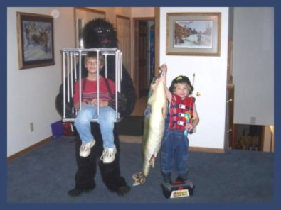 Gorilla carrying a boy in a cage - homemade Halloween costume