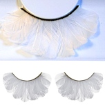 Unique Fluffy White Feather False Eyelashes