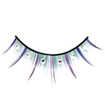 Funky, hand worked, eyelashes with an alternating blue purple green color design and white crystal stones