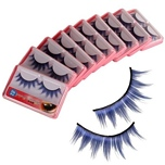 New 10 Pairs Make up Party Color Feather False Fake Glamour Eyelashes Blue with Glue HR-103