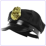 Police Hat, Black, with Bright Gold Plastic Badge