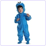 Cookie Monster Deluxe Two-Sided Plush Jumpsuit Costume, Small (2T)