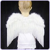 Children's Toddler Size White Feather Angel Wings & Headband Halo
