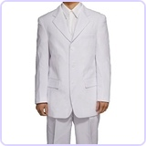Men's 3 Button Single Breasted White Dress Suit, 40 Long