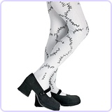 Stitched Child Tights, Black and White, One Size