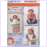 Simplicity Pattern 2487 for Baby's Raggedy Ann & Andy Costume, Size A (XS,S,M,L)