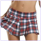 Pleated Plaid School Girl Skirt, Size S/M
