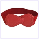 Ladies Interlocking 8-shaped Buckle Elastic Red Waist Belt