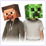 "Official Minecraft 12"" Steve & Creeper Head Costume Mask Set of 2"