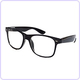 Childrens Nerd Retro Black Frame Clear Lens Eye Glasses (Age 3-10)