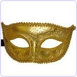 Venetian Style Masquerade Half Mask, Gold