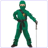Green Wolf Ninja Kids Costume