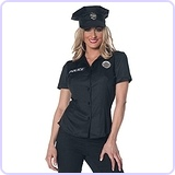 Women's Police Fitted Shirt, Black, X-Large