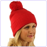 2 in 1 Winter 2ply Stretch Knit Pom Pom Red Hat