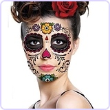 Sugar Skull Full Face Temporary Tattoo
