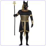 Men's Anubis The Jackal Tunic with Collar Arm Cuffs Armbands and Mask