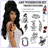 Amy Winehouse Temporary Tattoos and Wig