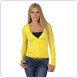 Women's V-Neck Full-Sleeve Button Cardigan, Medium