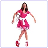 Women's Wind Up Doll Costume, Red, Small