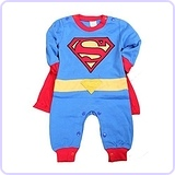 Long Sleeve Superman Romper With Removable Cape 12-18M