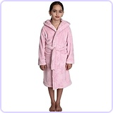 Little Girls' Hooded Plush Robe Soft Fleece Bathrobe Size 6 Ice Pink