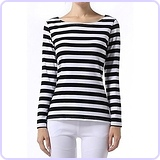 Women's Long Sleeve Stripe Pattern T-Shirt