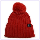 Solid Pom Pom Knit Beanie Hat (Red)