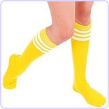 Women's Knee High Tube Socks 7-11 Yellow / White