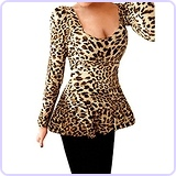 Ladies Leopard Prints Stretchy Long Sleeves Peplum Shirt