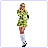 Women's Sexy Yellow Plaid Clueless Iggy Schoolgirl Costume