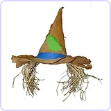 Raggedy Scarecrow Patched Hat w/ Raffia Hair