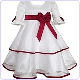 Girls Dress Red Rose Bow Tie Lace