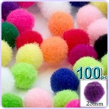 100-Piece Multi purpose Pom Poms, Acrylic, about 1.0-inch, round, Multi Mix