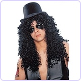Slash Wig Top Hat Mirrored Sunglasses Costume Kit