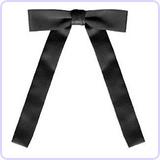 Black Satin Western String Bow Tie