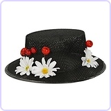 Women's Mary Poppins Hat with Cherries and Daisies