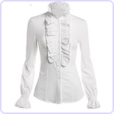 Women's Vintage Ruffle Long Sleeve Shirt Blouse