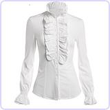 Women's Vintage Ruffle Long Sleeve Shirt Blouse