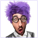 Purple Wig and Glasses Set Fear Costume