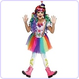 Crazy Rainbow Color Girls Clown Costume 8-10