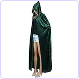 Full Length Crushed Velvet Hooded Cape