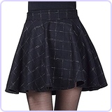 Plaid Wool Blend Flared Skater Skirt with Zipper Closure