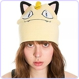 Pokemon Meowth Big Face Fleece Cap Beanie with Ears