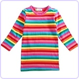 Rainbow Striped Cotton Dress