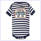 I Just Did 9 Months On The Inside Onesie Baby Romper Navy/White Striped