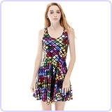 Sleeveless Mermaid Skater Rainbow Fish Dress
