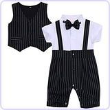 Baby Boy's Plaid Gentleman Romper Jumpsuit with Bowtie (6-9 Months)