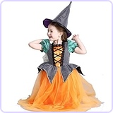 Cute Halloween Pumpkin Witch Costume Set, age 3-12