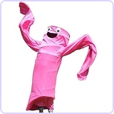 Wacky Waving Arm Flailing Tube Dancer Costume - Cha Cha - Pink